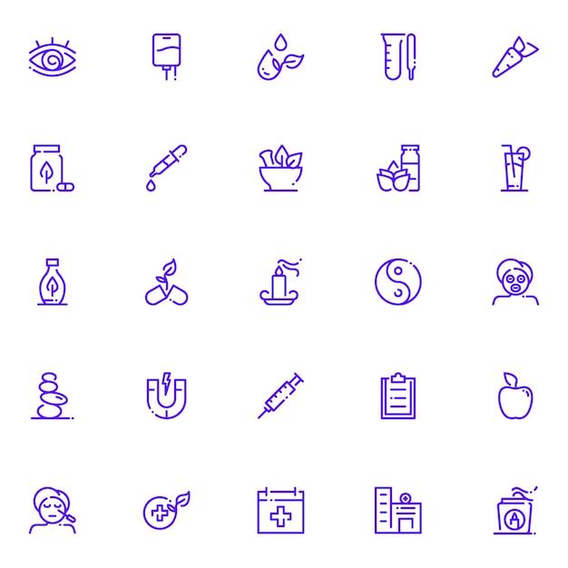Pack D'icônes De Médecine Alternative, Avec Style D'icône De Contour Vecteur Premium