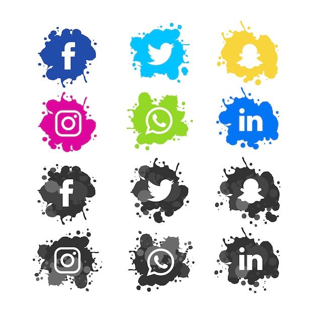Pack d'icônes de médias sociaux splash aquarelle moderne Vecteur gratuit