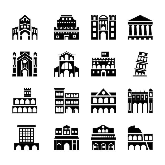 Pack D'icônes De Monuments De Rome Italie Vecteur Premium