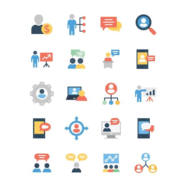 Pack D'icônes Plat Affaires Et Communication Vecteur Premium