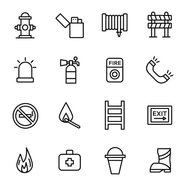 Pack D'icônes De Pompiers, Avec Style D'icône De Contour Vecteur Premium