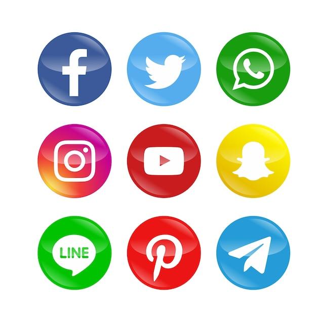 Pack d'icônes de réseaux sociaux modernes Vecteur Premium