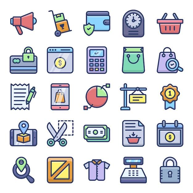 Pack d'icônes shopping Vecteur Premium