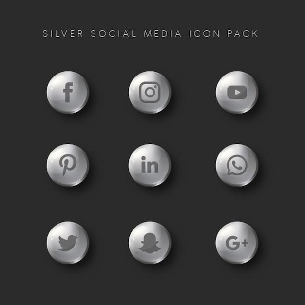 Pack d'icônes silver sur les réseaux sociaux Vecteur Premium