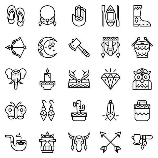 Pack D'icônes De Style Boho, Avec Style D'icône De Contour Vecteur Premium