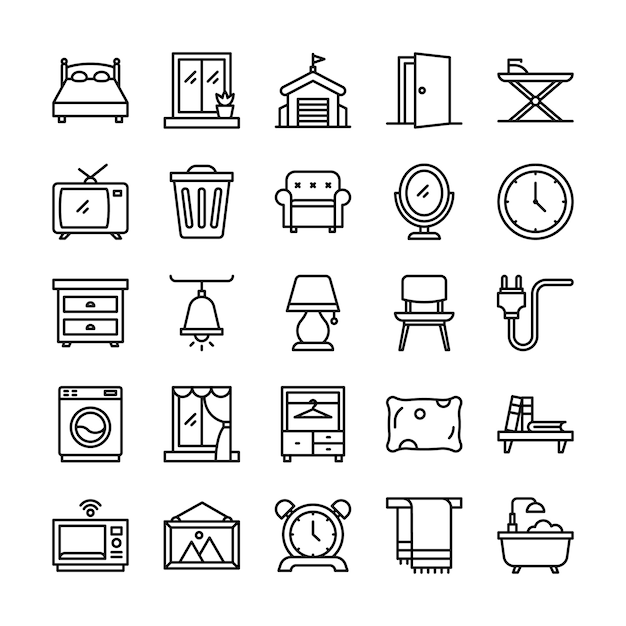 Pack D'icônes De Vie à La Maison, Avec Style D'icône De Contour Vecteur Premium
