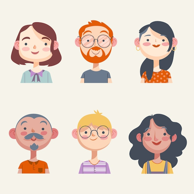 Pack D'illustration D'avatars De Personnes Vecteur gratuit