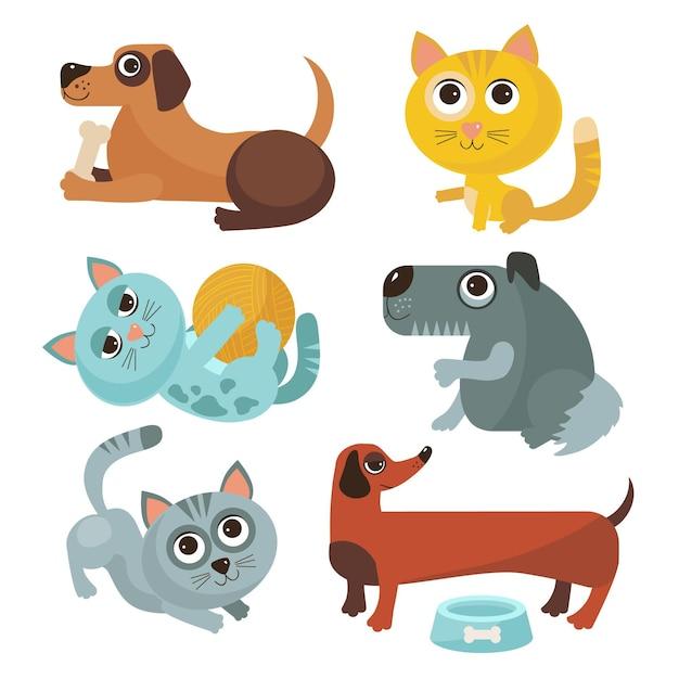 Pack D'illustration Différents Animaux Design Plat Vecteur gratuit