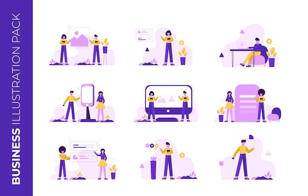Pack D'illustration D'entreprise Pour La Page De Destination Vecteur Premium
