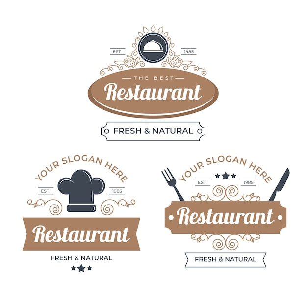 Pack D'illustration De Logo De Restaurant Rétro Vecteur gratuit