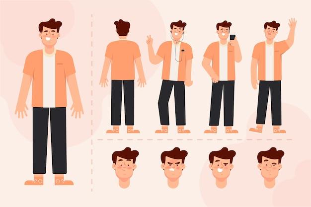 Pack D'illustration De Personnage Masculin Vecteur gratuit