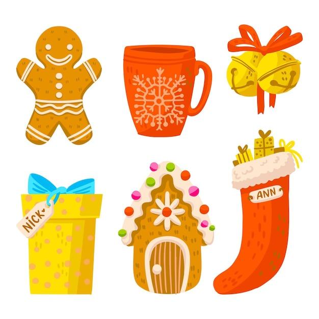 Pack D'illustrations D'éléments De Noël Dessinés à La Main Vecteur gratuit
