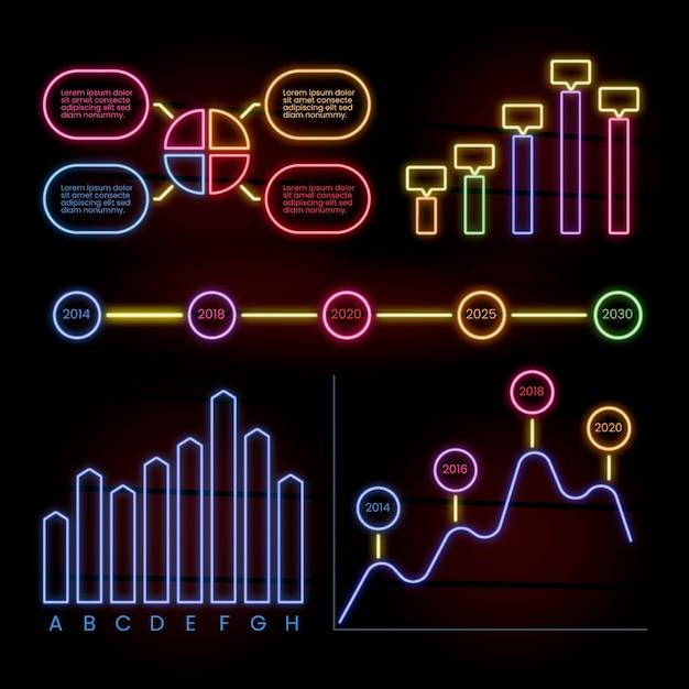 Pack d'infographie dans un style néon Vecteur gratuit