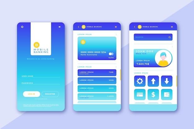 Pack D'interface D'application Bancaire Vecteur gratuit