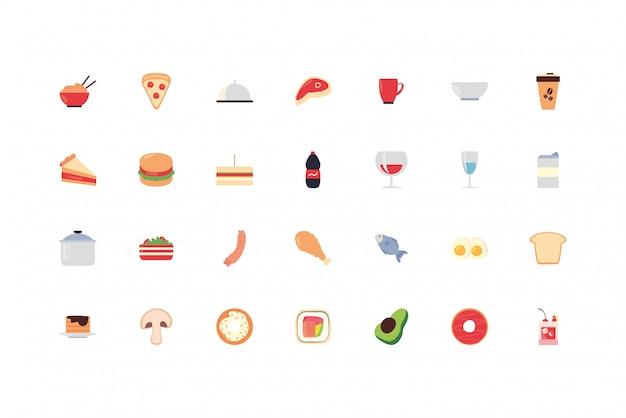 Pack De Jeu D'icônes De Nourriture Et De Boissons Vecteur Premium