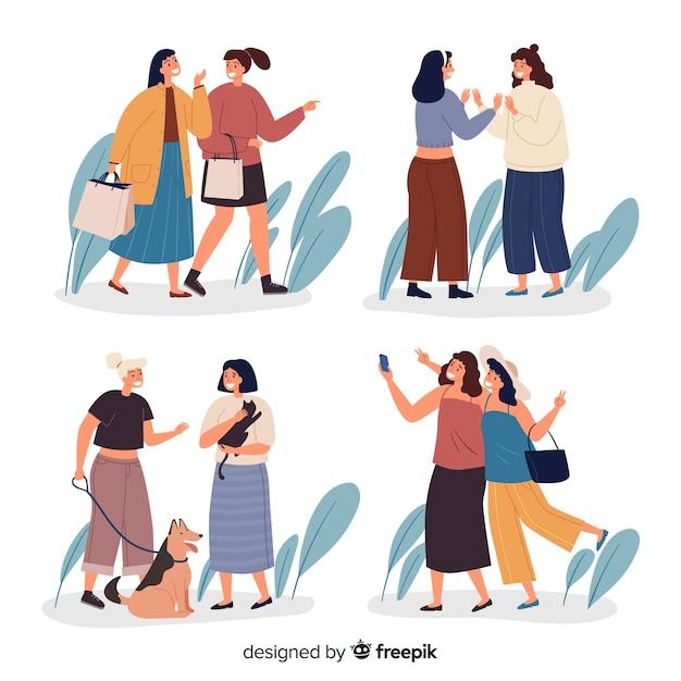 Pack de jeunes femmes qui passent du temps ensemble Vecteur gratuit