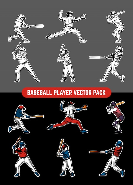 Pack Joueur De Baseball Vecteur Premium