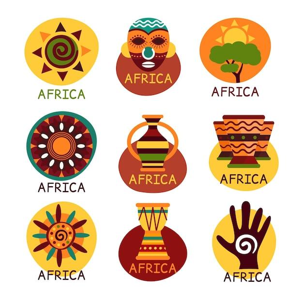 Pack De Logo De Carte Afrique Vecteur Premium