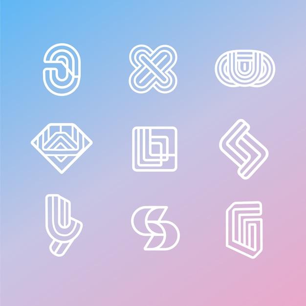 Pack De Logo Linéaire De Style Abstrait Vecteur gratuit