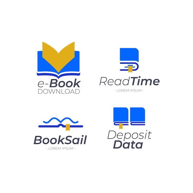 Pack De Logo Livre Plat Vecteur gratuit