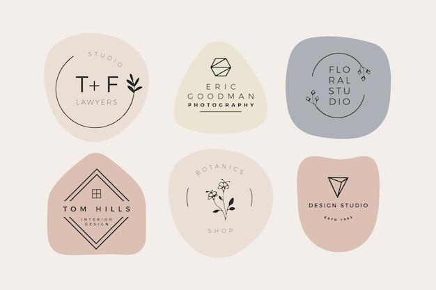 Pack Logo Minimal Avec Des Couleurs Pastel Vecteur Premium