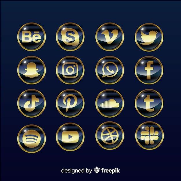 Pack logo de réseaux sociaux de luxe Vecteur gratuit