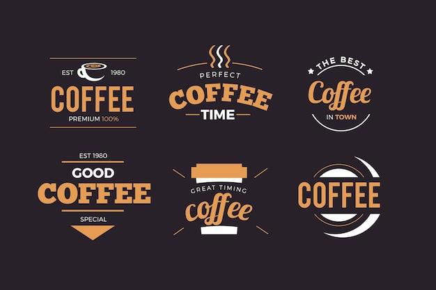 Pack logo rétro café Vecteur gratuit