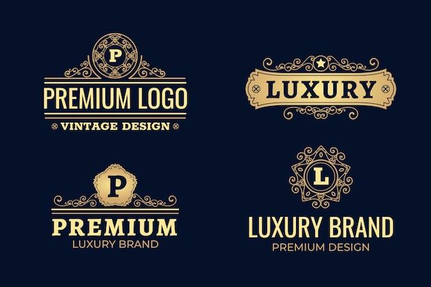 Pack logo rétro de luxe Vecteur gratuit