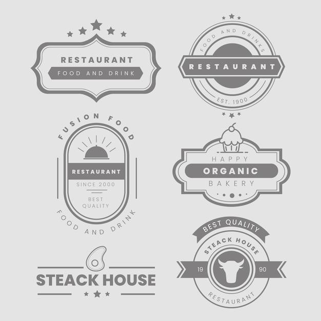 Pack logo vintage restaurant Vecteur gratuit