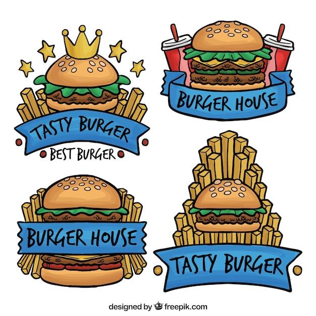 Pack de logos artisanaux à l'hamburger Vecteur gratuit