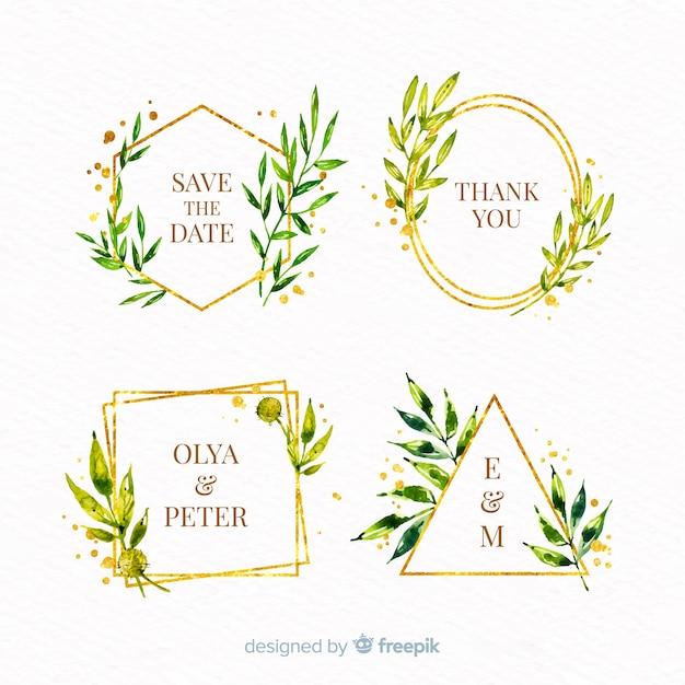 Pack de logos de cadre de mariage aquarelle Vecteur gratuit