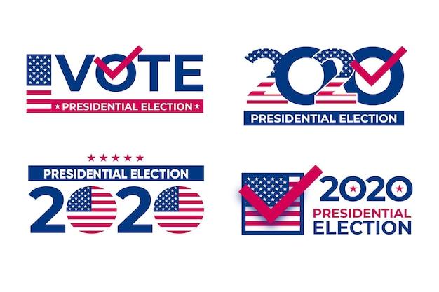 Pack De Logos De L'élection Présidentielle Américaine 2020 Vecteur Premium