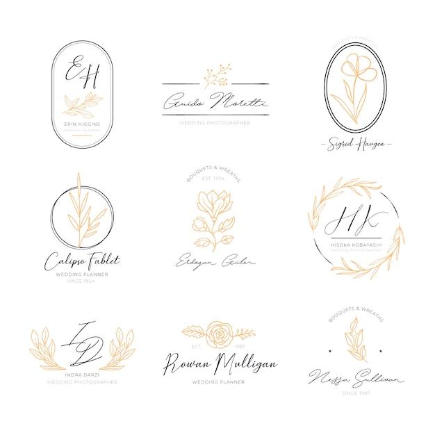 Pack de logos élégants floraux Vecteur gratuit