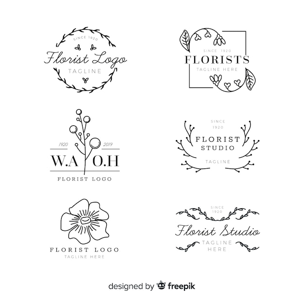 Pack de logos de fleuriste de mariage Vecteur gratuit