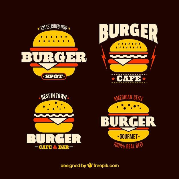 Pack de logos de hamburger avec détails rouges Vecteur gratuit