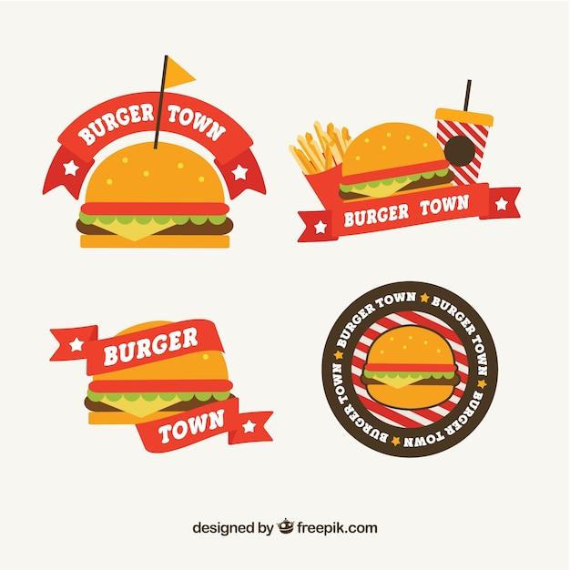 Pack de logos de hamburgers en conception plate Vecteur gratuit