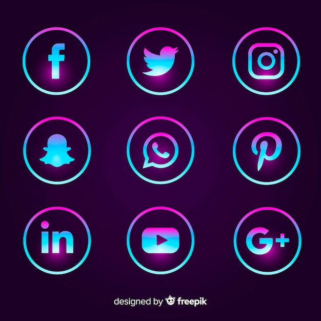 Pack de logos de médias sociaux gradient Vecteur gratuit