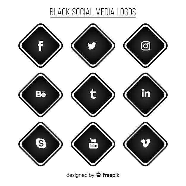 Pack de logos de médias sociaux noirs Vecteur gratuit
