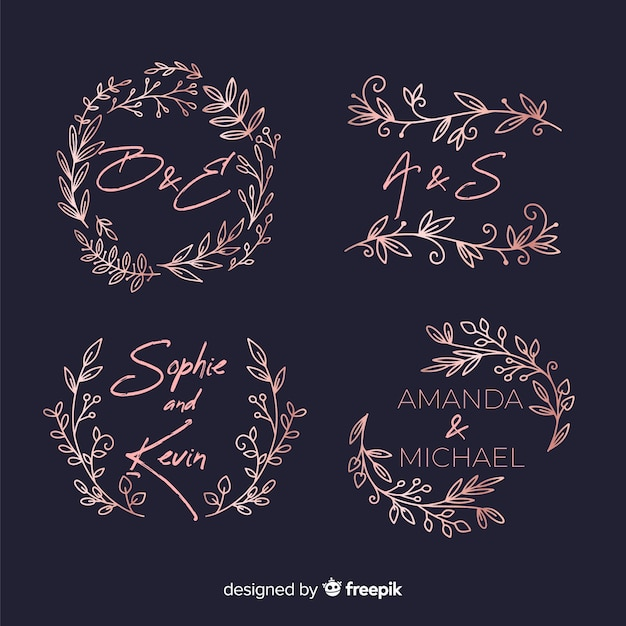 Pack de logos de monogramme de mariage Vecteur gratuit