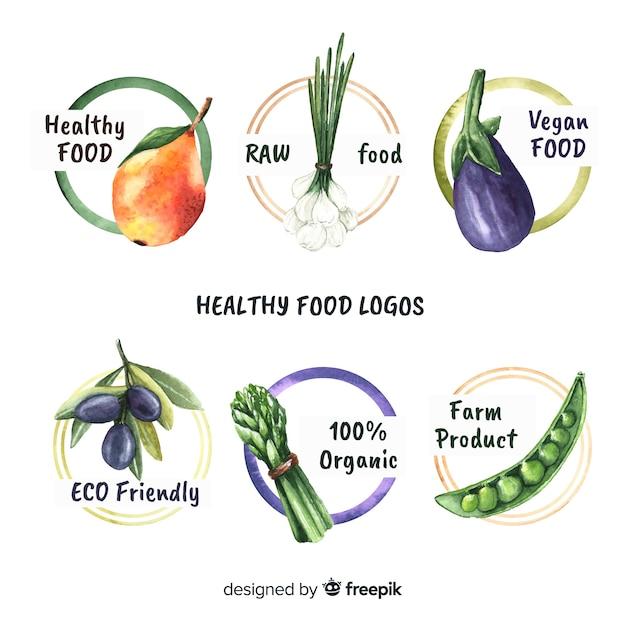Pack de logos de nourriture bio dessinés à la main Vecteur gratuit