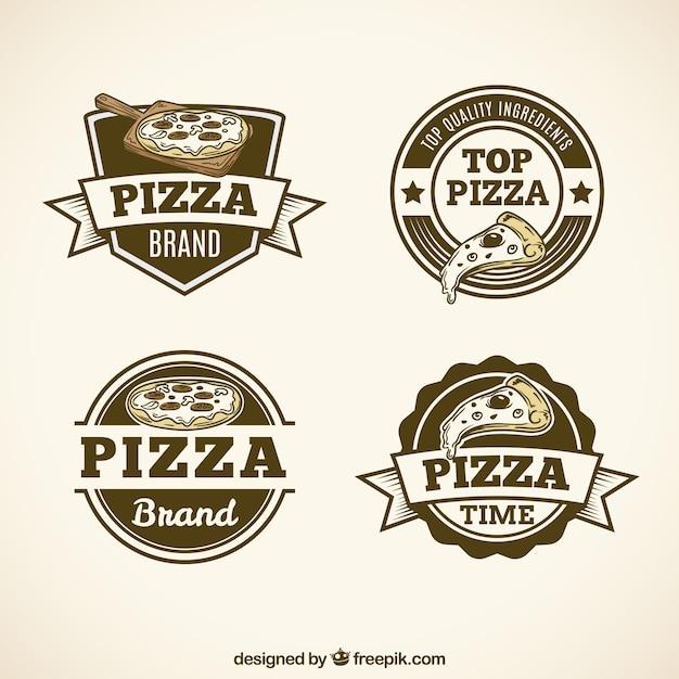 Pack De Logos De Pizza Vintage Vecteur Premium