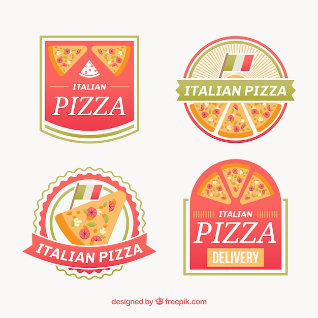 Pack De Logos De Pizza Vecteur Premium
