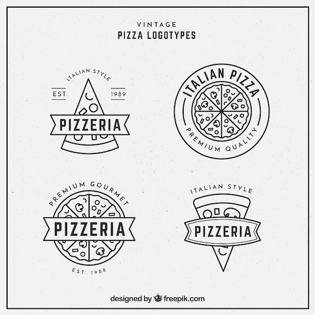 Pack De Logos De Pizzas En Style Linéaire Vecteur Premium