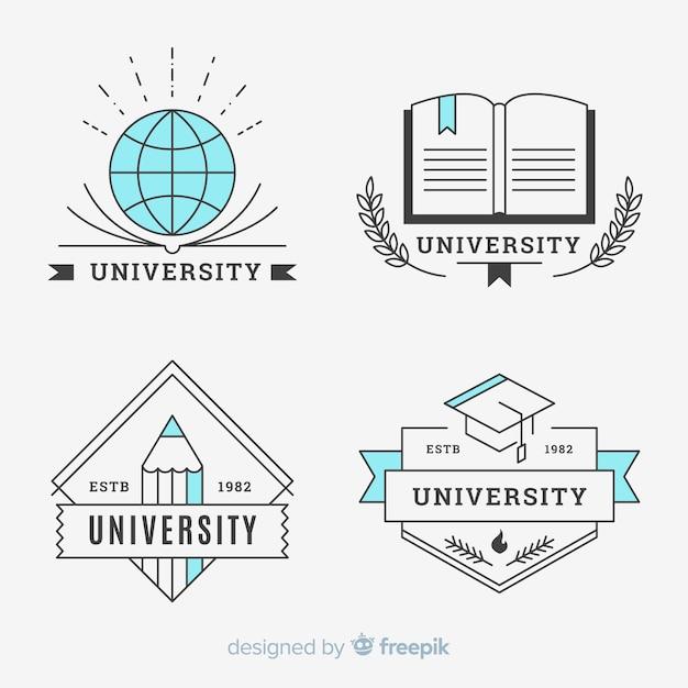 Pack de logos universitaires dans un style plat Vecteur gratuit