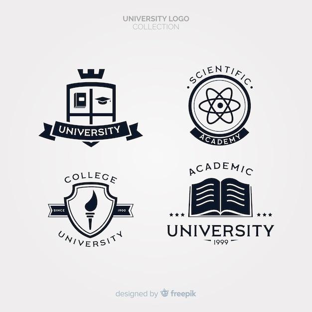 Pack de logos universitaires plats Vecteur gratuit