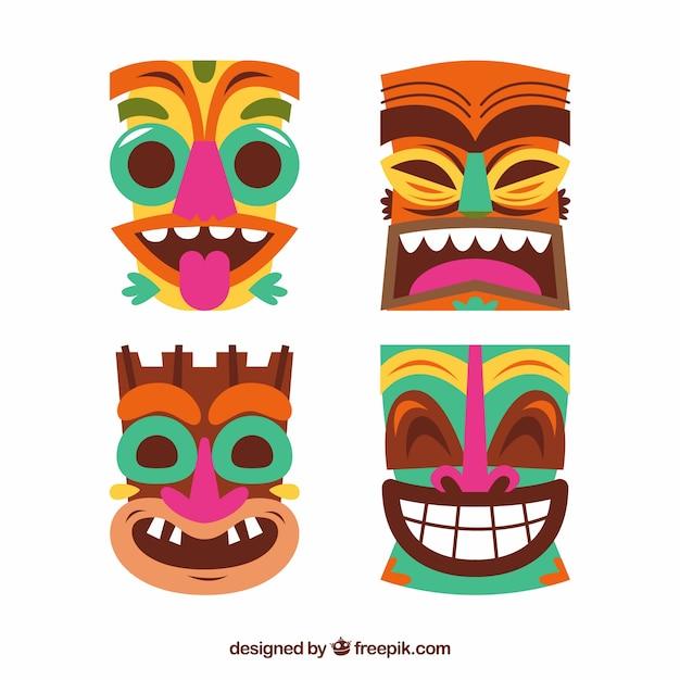 Pack de masques tiki en conception plate Vecteur gratuit
