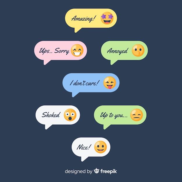 Pack de messages avec emojis Vecteur gratuit