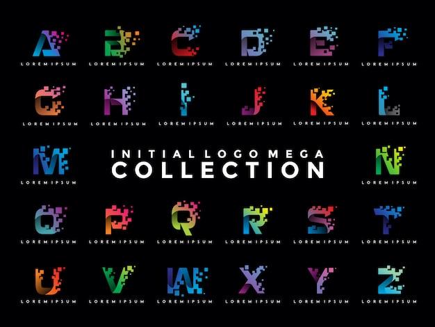 Pack De Modèle De Logo Pixel Initial Coloré Vecteur Premium