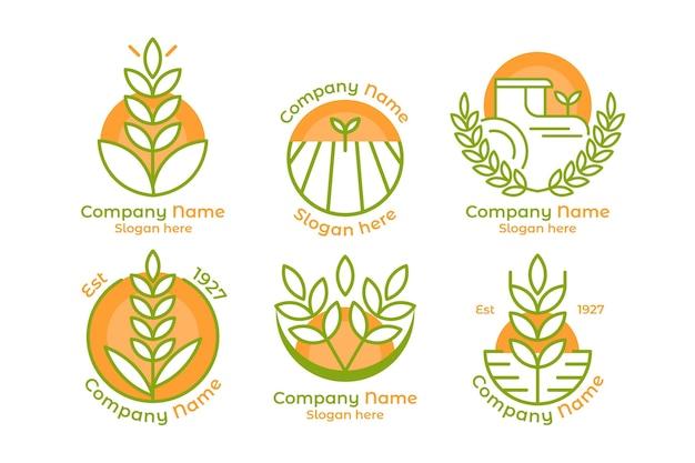 Pack De Modèle De Logo De Riz Vecteur Premium