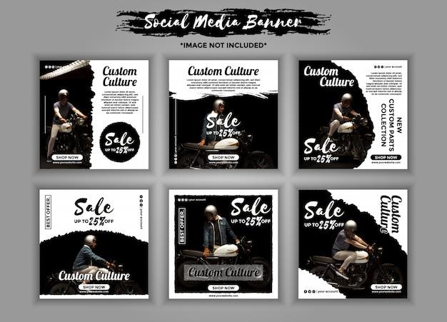 Pack de modèles de bannière pour les médias sociaux moto personnalisée Vecteur Premium